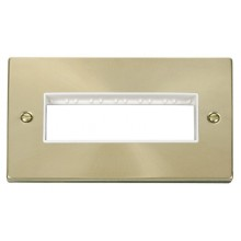 Click Deco Satin Brass 2 Gang Plate 6 In-Line Aperture VPSB426WH
