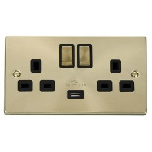 Click Deco 13A 2.1A Socket Ingot 2G Switched c/w USB Outlet Satin Brass VPSB570BK