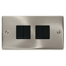 Click Deco Satin Chrome 4 Gang 2 Way Switch VPSC019BK