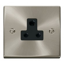 Click Deco Satin Chrome 5A Single Round Pin Socket VPSC038BK