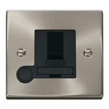 Click Deco Satin Chrome Switched Fused Spur + F/O VPSC051BK