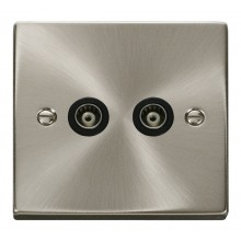 Click Deco Satin Chrome Twin Isolated Coaxial Socket VPSC159BK