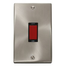Click Deco Satin Chrome 2 Gang 45A Vertical DP Switch VPSC202BK