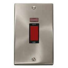 Click Deco Satin Chrome 2 Gang 45A Vertical DP Sw Neon VPSC203BK
