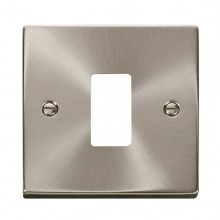 Click Deco Satin Chrome 1 Gang Grid Pro Front Plate VPSC20401