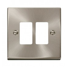 Click Deco Satin Chrome 2 Gang Grid Pro Front Plate VPSC20402