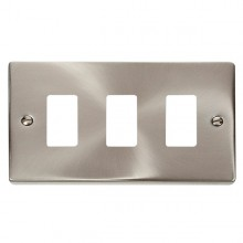 Click Deco Satin Chrome 3 Gang Grid Pro Front Plate VPSC20403