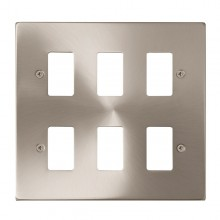 Click Deco Satin Chrome 6 Gang Grid Pro Front Plate VPSC20506