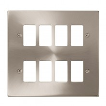 Click Deco Satin Chrome 8 Gang Grid Pro Front Plate VPSC20508
