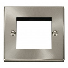 Click Deco Satin Chrome New Media Twin Aperture Plate VPSC311