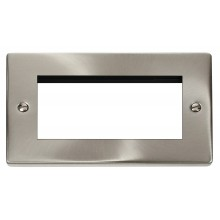 Click Deco Satin Chrome New Media Quad Aperture Plate VPSC312