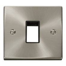 Click Deco Satin Chrome Single Plate 1 Gang Aperture VPSC401BK