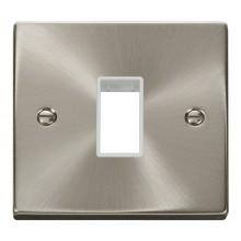 Click Deco Satin Chrome Single Plate 1 Gang Aperture VPSC401WH