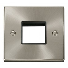 Click Deco Satin Chrome Single Plate 2 Gang Aperture VPSC402BK