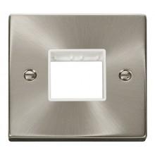 Click Deco Satin Chrome Single Plate 2 Gang Aperture VPSC402WH