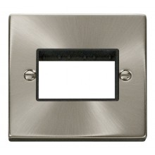 Click Deco Satin Chrome Single Plate 3 Gang Aperture VPSC403BK