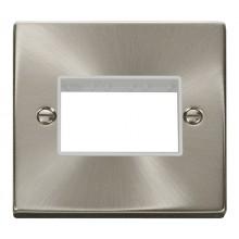 Click Deco Satin Chrome Single Plate 3 Gang Aperture VPSC403WH