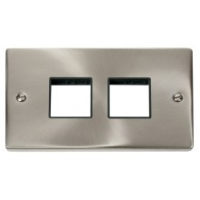 Click Deco Satin Chrome Double Plate 4 Gang Aperture VPSC404BK