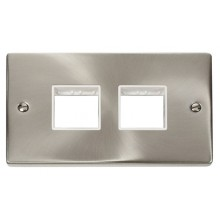 Click Deco Satin Chrome Double Plate 4 Gang Aperture VPSC404WH