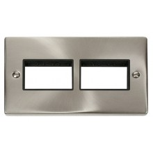 Click Deco Satin Chrome Double Plate 6 Gang Aperture VPSC406BK