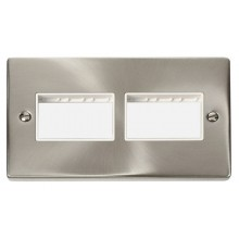 Click Deco Satin Chrome Double Plate 6 Gang Aperture VPSC406WH
