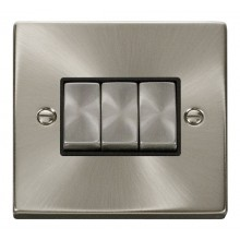 Click Deco Satin Chrome 3 Gang 2 Way Switch VPSC413BK
