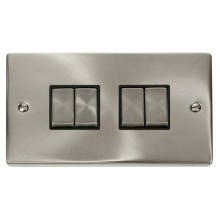 Click Deco Satin Chrome 4 Gang 2 Way Switch VPSC414BK