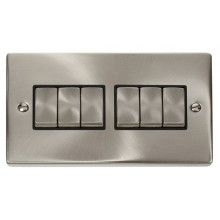 Click Deco Satin Chrome 6 Gang 2 Way Switch VPSC416BK