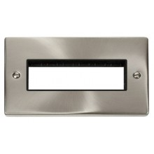 Click Deco Satin Chrome Double Plate 6 Gang Aperture VPSC426BK