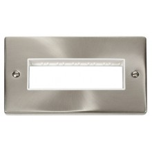 Click Deco Satin Chrome Double Plate 6 Gang Aperture VPSC426WH