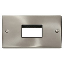 Click Deco Satin Chrome Double Plate 3 Gang Aperture VPSC432BK