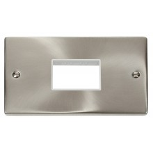 Click Deco Satin Chrome Double Plate 3 Gang Aperture VPSC432WH