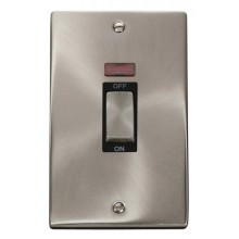 Click Deco Satin Chrome 2 Gang 45A Vertical DP Sw Neon VPSC503BK