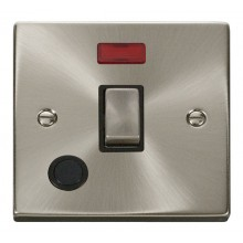 Click Deco 20A Switch Ingot DP c/w Flex Outlet & Neon Satin Chrome VPSC523BK