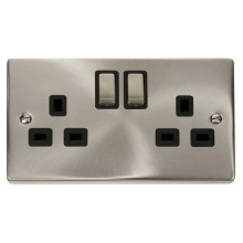 Click Deco Satin Chrome 13A Double Switched Socket VPSC536BK
