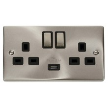 Click Deco Satin Chrome USB Double Switched Socket VPSC570BK