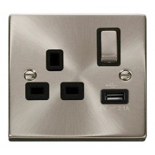 Click Deco 13A 2.1A Socket Ingot 1G Switched c/w USB Outlet Satin Chrome VPSC571BK