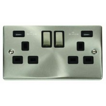 Click Deco Satin Chrome Twin USB Double Socket VPSC580BK