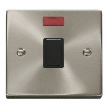Click Deco Satin Chrome 20A Double Pole Switch + Neon VPSC623BK