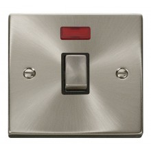 Click Deco Satin Chrome 20A Double Pole Switch + Neon VPSC723BK