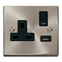 Click Deco Satin Chrome USB Single Switched Socket VPSC771BK