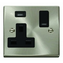 Click Deco 13A 5V 2.1A Socket 1 Gang Switched & USB Outlet Satin Chrome VPSC771UBK