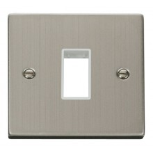 Click Stainless Steel Single Plate 1 Gang Aperture VPSS401WH
