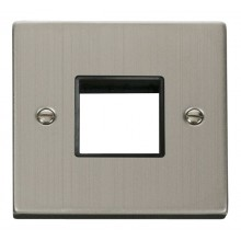 Click Stainless Steel Single Plate 2 Gang Aperture VPSS402BK