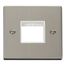 Click Stainless Steel Single Plate 2 Gang Aperture VPSS402WH