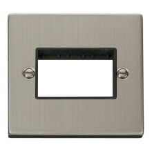 Click Stainless Steel Single Plate 3 Gang Aperture VPSS403BK