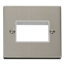 Click Stainless Steel Single Plate 3 Gang Aperture VPSS403WH