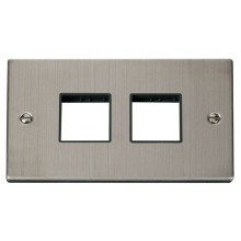 Click Stainless Steel Double Plate 4 Gang Aperture VPSS404BK
