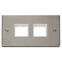 Click Stainless Steel Double Plate 4 Gang Aperture VPSS404WH