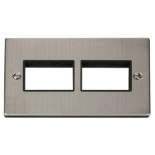 Click Stainless Steel Double Plate 6 Gang Aperture VPSS406BK